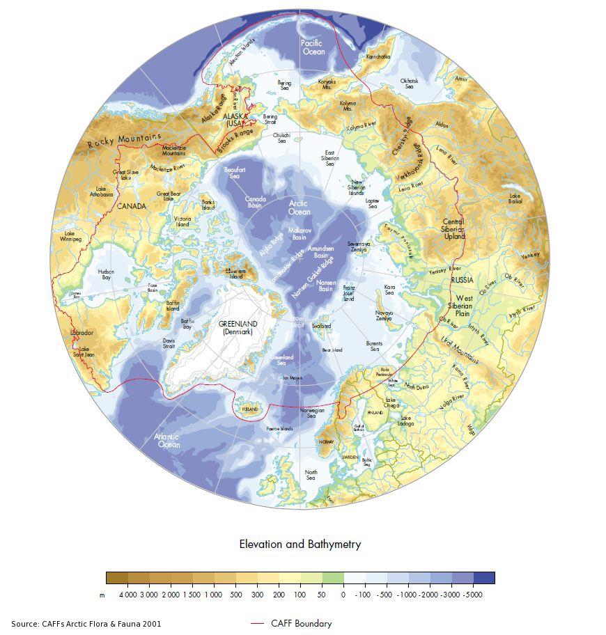 CAFF Map No Arctic Elevation And Bathymetry Arctic Portal - Globe elevation